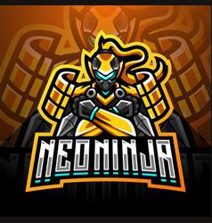 neo ninja esport mascot logo design vector image