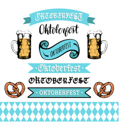 Oktoberfest ribbons and lettering collection for vector