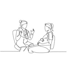 one single line drawing female obstetrics vector image