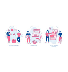 Online shopping service set people make web vector