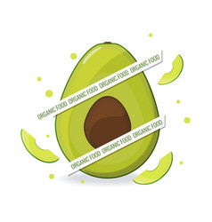 organic food web banner avocado and avocado slice vector image