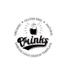 organic gluten free natural drinks round logo vector image