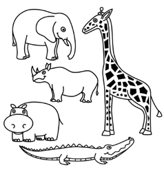 Outline animals set vector