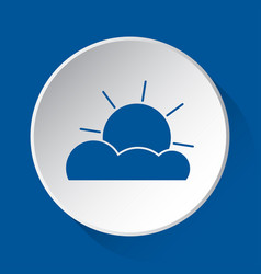 partly cloudy - simple blue icon on white button vector image