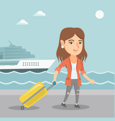 passenger goes to the cruise liner with a suitcase vector image