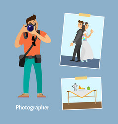 Photographer with digital camera and photographs vector