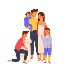 portrait big happy family standing together vector image