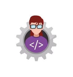 programmer woman faceless glasses vector image