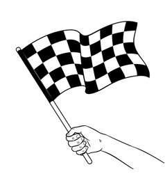 racing flag in hand coloring book vector image