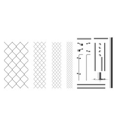 realistic metal links and parts of the fence vector image