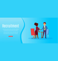 recruitment banner inscription full-time search vector image