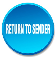 Return to sender blue round flat isolated push vector