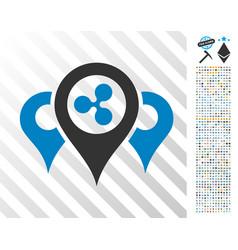 Ripple locations flat icon with bonus vector