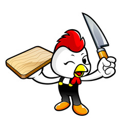 Rooster character holding a knife and cutting vector