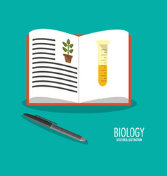 science biology book pen icons vector image