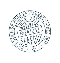 Seafood round stamp icon vector