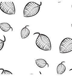 seamless pattern of hand-drawn leaves vector image