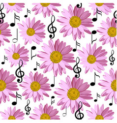 Seamless pattern with music notes and pink daisies vector