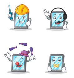 set of tablet character with automotive headphone vector image