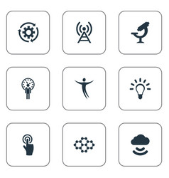 Set simple invention icons vector