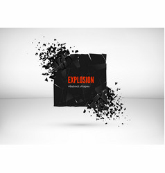 shatter and destruction dark square effect vector image