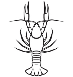 Silhouette crayfish vector image