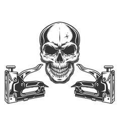 Skull and construction staplers concept vector