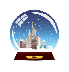 snow globe city new york in snow globe winter vector image