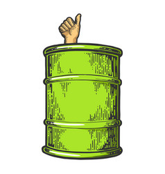 thumb up in oil barrel color sketch vector image