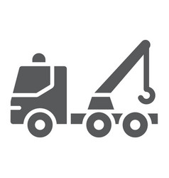 tow truck glyph icon transport and service vector image