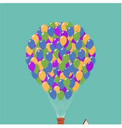 up movie icon house in air on balloons vector image
