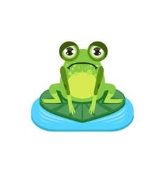 Upset Cartoon Frog Character vector image