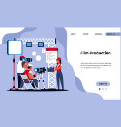 video production landing page movie making studio vector image