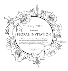 Vintage invitation card with black and white hand vector image