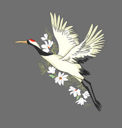 watercolor set of bird crane white stork vector image