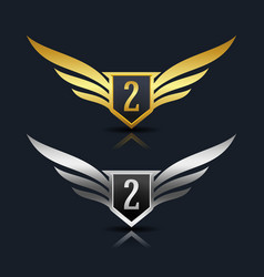 Wings shield number 3 logo template vector