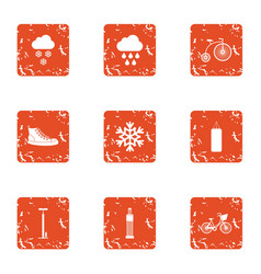 Winter flavor icons set grunge style vector