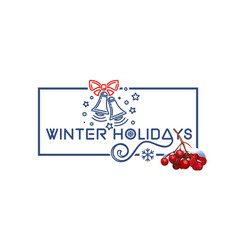 Winter holidays christmas logo design with rowan vector