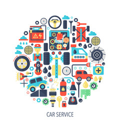 car service flat infographics icons in circle - vector image vector image