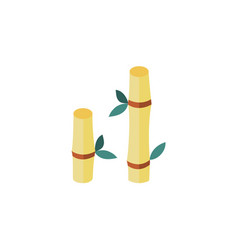 flat cartoon bamboo stem with leaves icon vector image