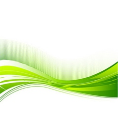 green wave background on white vector image vector image