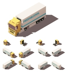 isometric truck with insulated or vector image