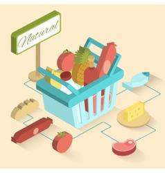 Supermarket basket isometric vector