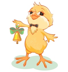 Yellow chicken rings the bell vector