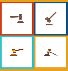 flat icon hammer set of hammer legal tribunal vector image vector image