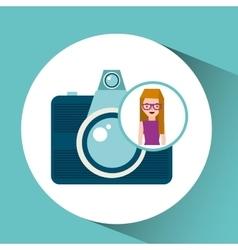 girl glasses camera tourist traveler vector image