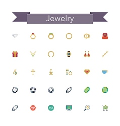 Jewelry Flat Icons vector image vector image