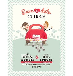 Just married car wedding invitation vector image