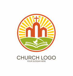 The church of jesus the bible and the holy spirit vector