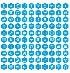 100 programmer icons set blue vector image